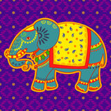 Decorated elephant in Indian art style Stock Images