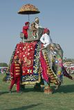 Decorated Elephant and Passengers. Jaipur, Rajasthan, India. Stock Photos