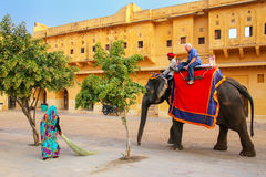 Decorated elephant with tourist walking in Jaleb Chowk main cou. Rtyard in Amber Fort, Rajasthan, India. Elephant rides are popular tourist attraction in Amber Stock Photography
