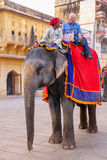 Decorated elephant with tourist walking in Jaleb Chowk main cou. Rtyard in Amber Fort, Rajasthan, India. Elephant rides are popular tourist attraction in Amber Royalty Free Stock Images