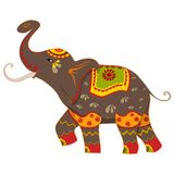Decorated Elephant. Vector illustration of decorated elephant Stock Photos