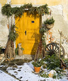 Decorated entrance. Naturally decorated entrance to an old house royalty free stock images