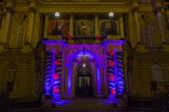 Public decorations for Xmas and New Year holidays in Zagreb. Decorated entrance of Croatian National Theatre for Xmas and New Year in Zagreb Croatian capital Stock Photography