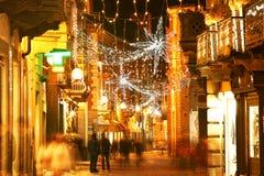 Decorated evening street. Alba, Italy. Stock Photos