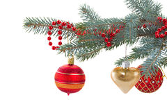 Decorated evergreen tree close up Stock Photo