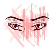 Decorated eyes. Eyes decorated with stripes of color Stock Images