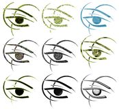 Set of Decorated eyes in different styles Royalty Free Stock Photos