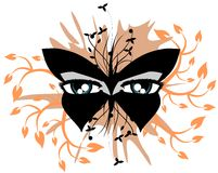 Decorated eyes on black butterfly isolated Royalty Free Stock Photos