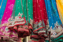 Decorated fabrics. Embellished fabrics for sale in the Isfahan bazaar, Iran Stock Photography