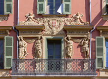 Decorated Facade of a Historic Palace in Nice Stock Photos