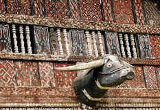 Free Decorated Facade Of The Traditional House Of People Living In The Region Tana Toraja On The Indonesian Sulawesi Island Stock Images - 156840744