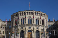 Decorated facade of the Parliament Building of Norway Stock Images
