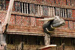 Decorated facade of the traditional house of people living in the region Tana Toraja on the Indonesian Sulawesi island Stock Images