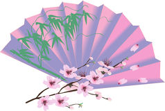 Decorated fan and cherry tree blossom Stock Image