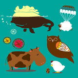 Decorated farm animals character. Ornamental farm animals peacook background Royalty Free Illustration