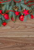 Decorated fir tree border, vertical shot Royalty Free Stock Photography