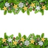 Decorated fir twigs as a Christmas frame Royalty Free Stock Images