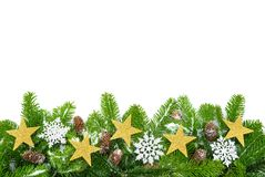 Decorated fir twigs with lots of copyspace Royalty Free Stock Photography