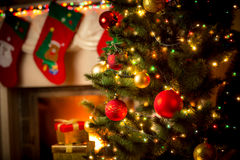Free Decorated Fireplace And Christmas Tree At Cottage Royalty Free Stock Photo - 61012255