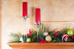 Decorated fireplace mantle for Christmas Stock Images