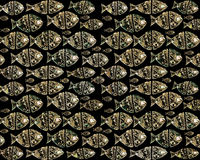 Decorated Fish Artwork Pattern. Raster illustration decorated fishes pattern in golden tones and black background Stock Images