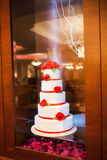 Decorated five floors cake Stock Photography