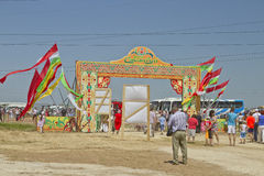 Decorated with the flags of the gate with the words Sabantuy Royalty Free Stock Images