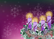 Decorated floral Advent wreath with four advent candles and glit Stock Photos