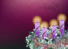 Decorated floral Advent wreath with four advent candles  illustr. Ation background with copy space for text Royalty Free Stock Image
