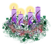 Decorated floral Advent wreath with three advent candles burning Stock Images