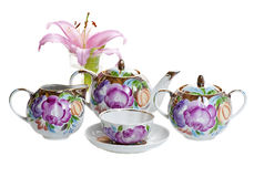 Decorated with flower pattern tea set Stock Photos