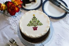 Decorated fruit cake with icing on top. Stock Photos