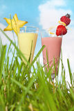 Decorated fruit smoothies Royalty Free Stock Images