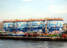 Decorated Fuel Storage Tanks Royalty Free Stock Photos