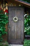Decorated garden house door Royalty Free Stock Image
