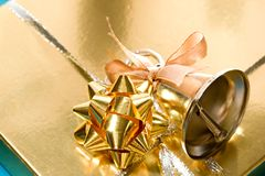Decorated gift box. With a handbell Royalty Free Stock Photos