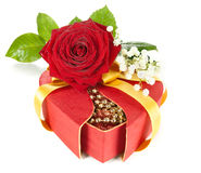 Red gift box with a rose on white Royalty Free Stock Image