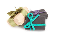 Decorated gift boxes over white Royalty Free Stock Image