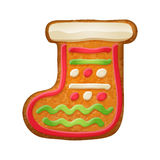 Decorated gift sock. Gingerbread cookie. Stock Photos