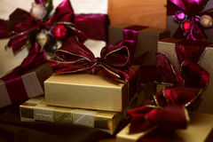 Decorated Gifts. Assortment of sizes of gifts with ribbons and bows stock photography