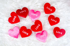 Decorated gifts with a heart shapes and text Stock Images
