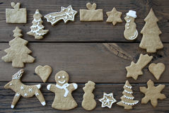 Decorated Ginger Breads on Wood Royalty Free Stock Images