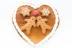 Decorated Gingerbread Heart on White Background Royalty Free Stock Image