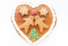 Decorated Gingerbread Heart on White Background Royalty Free Stock Photo