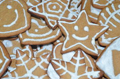 Decorated gingerbreads for Christmas. Some decorated gingerbreads for Christmas made at home Royalty Free Stock Image