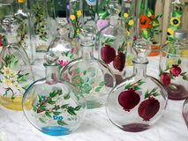 Decorated Glass Bottles Stock Images