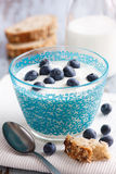 Decorated glass bowl of blueberries Stock Photos