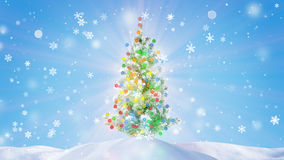 Decorated glowing christmas tree Royalty Free Stock Images