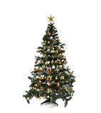 Decorated gold Christmas tree with golder patchwork ornament art Stock Photo