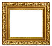 Decorated gold plated frame. Decorated classic style gold plated frame empty Stock Photo
